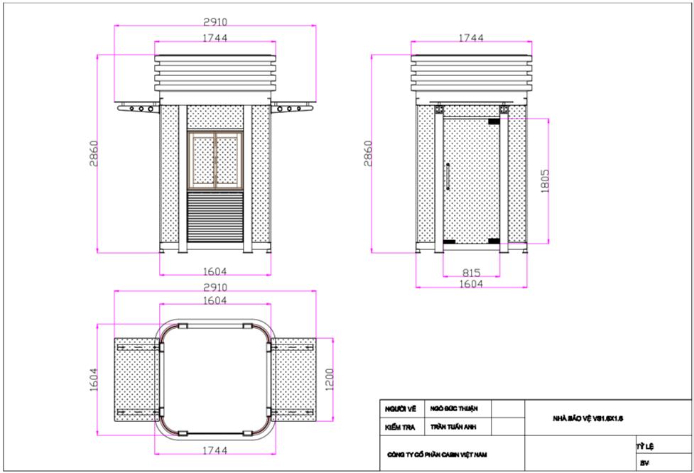 Cabin bảo vệ khung thép mẫu VS1.6x1.6F