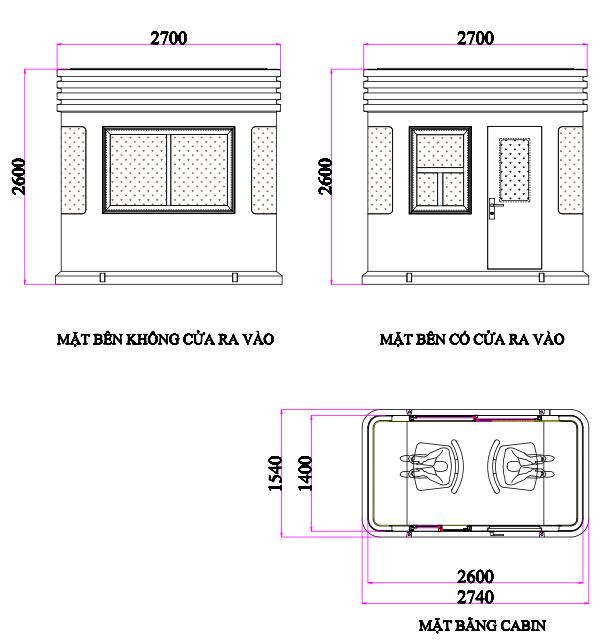 Bảm vẽ cabin thu phí VC2H1400